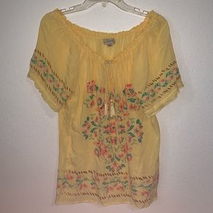 Live and Let Live Floral Boho Blouse Ties Yellow L